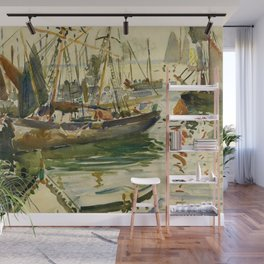 Ships in Harbor coastal nautical landscape painting by Hayley Lever Wall Mural