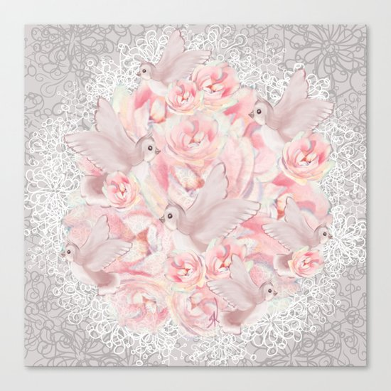 Rose Birds Canvas Print