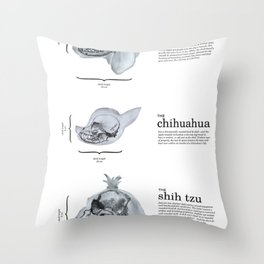 Dog Skull Comparison Throw Pillow