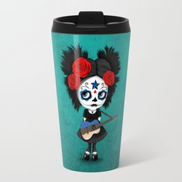 Day of the Dead Girl Playing Estonian Flag Guitar Travel Mug