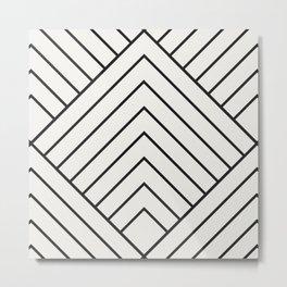 Diamond Series Pyramid Charcoal on White Metal Print