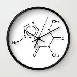 Molecular Structure of Caffeine Wall Clock