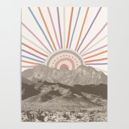 Summerlin Mountain // Abstract Vintage Mountains Summer Sun Vibe Drawing Happy Wall Hanging Poster