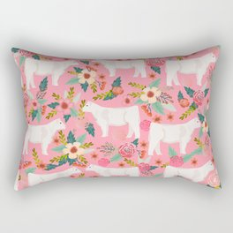 Charolais cattle farm must have gifts homesteader cow breeds florals Rectangular Pillow