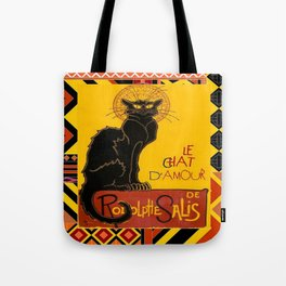 Le Chat Noir D'Amour With Ethnic Border Tote Bag