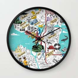 Illustrated Seattle City Map Wall Clock