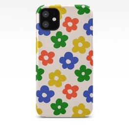 Retro Pattern Primary Rainbow Flowers #pattern #floral #vintage iPhone Case