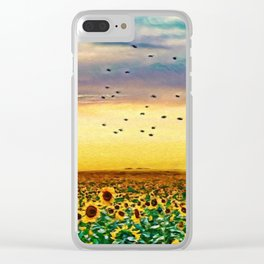 Golden Sunflower Field | Painting Clear iPhone Case