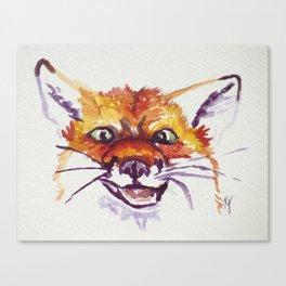 Happy Fox Face Canvas Print