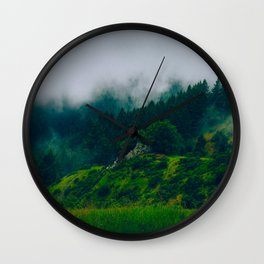 Moist Rainy Forest Pine Trees  Green Hills Wall Clock