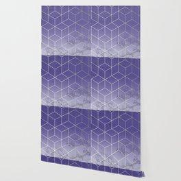 Geometric Marble Ultraviolet Purple Gold Wallpaper