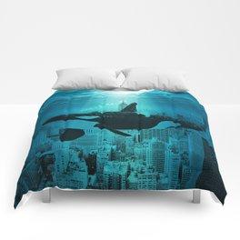 Orcas in Manhattan Comforters