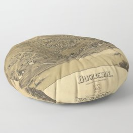 Aerial View of Duquesne, Allegheny County, Pennsylvania (1897) Floor Pillow