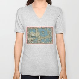 Vintage Map of Cape Cod (1945)  Unisex V-Neck