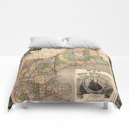 Map of New England 1847 Comforters