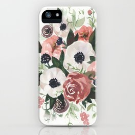 Anemone Berry Watercolor Bouquet iPhone Case