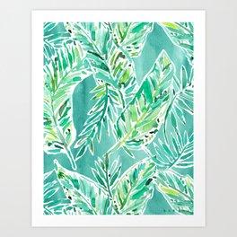 LEAFY ABUNDANCE Green Banana Leaf Print Art Print