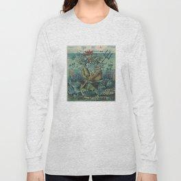 Vintage Poseidon & Sunken Ships Illustration (1898) Long Sleeve T-shirt