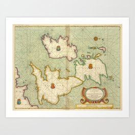 Vintage Map of The British Isles (1707) Art Print