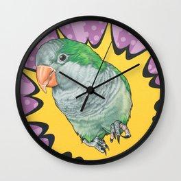 Quaker Parrot Pop Art Portrait, Painting of Green Monk Parakeet Wall Clock