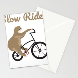 Sloth Shirt Slow Ride Sloth riding bicycle Stationery Cards