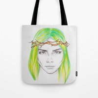 caleb troy Tote Bags featuring Helen of Troy by L.B.