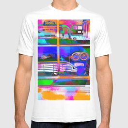 blue classic taxi car with painting abstract in green pink orange  blue T-shirt