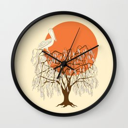 weeping willow, pelican and sun Wall Clock