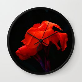 Orange Indian Reed Lily Flower Wall Clock