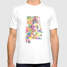Typographic Alabama - Multi color Watercolor map art White Mens Fitted Tee MEDIUM