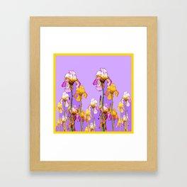LILAC PURPLE-GOLD IRIS GARDEN PURPLE ART Framed Art Print