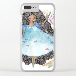 Girl and fish Clear iPhone Case