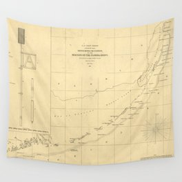 Vintage Map of The Florida Keys (1861) Wall Tapestry