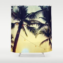 Vintage Palm trees with patio lanterns Shower Curtain