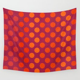 """Warm Burlap Texture & Polka Dots"" Wall Tapestry"