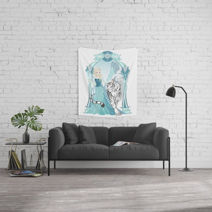 Frozen White Tiger Wall Tapestry