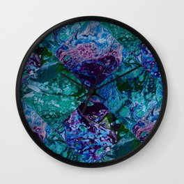 Psycho - Patchwork Quilt with Alternating Blue, Green, Purple Colors by annmariescreations Wall Clock