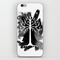 gondor iPhone & iPod Skins featuring White Tree Of Gondor by Icarusdie