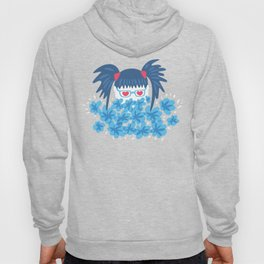 Geek Girl With Heart Shaped Eyes And Blue Flowers Hoody