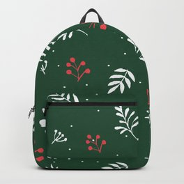 Green and Berry Autum Winter Botanical Decor Backpack