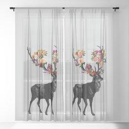 Spring Itself Deer Floral Sheer Curtain
