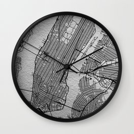 Silver new york map Wall Clock