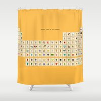 periodic table Shower Curtains featuring Periodic table of the elements by AnneKarine