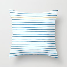 Blue French Paris Stripe Pattern with Gold Throw Pillow