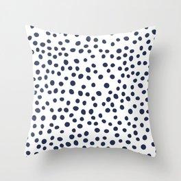 Dark blue vector doodle circle dot Throw Pillow