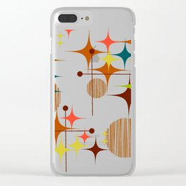 Midcentury Modern Starbursts and Globes 4 Clear iPhone Case