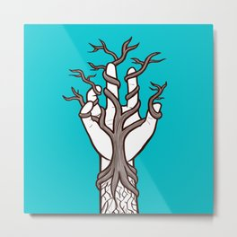 Bare tree growing within a hand – interlacing of nature and humanity Metal Print