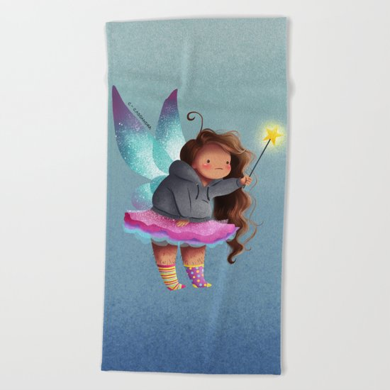 the lazy fairy godmother Beach Towel
