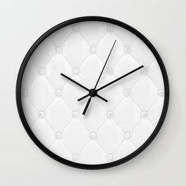 Ivory White Diamond Tufting Pattern Wall Clock