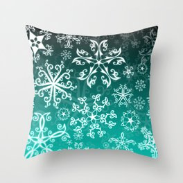 Symbols in Snowflakes on Winter Green Throw Pillow
